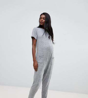 Asos Design Maternity Lounge Short Sleeve Super Soft Touch Jumpsuit - Gray