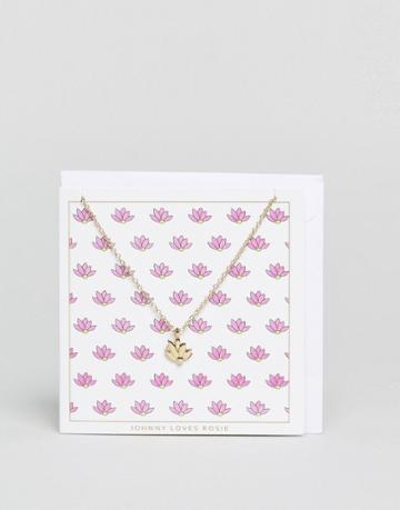 Johnny Loves Rosie Lotus Giftcard Necklace - Gold