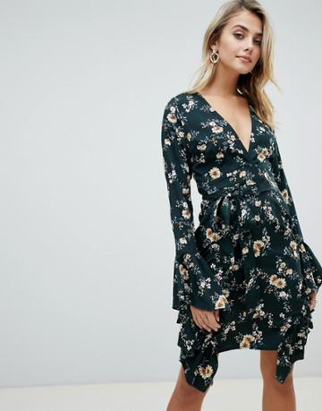 Prettylittlething Wrap Dress With Ruffle Trim In Green Floral - Green