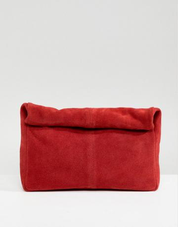 Asos Design Suede Soft Roll Top Clutch - Red