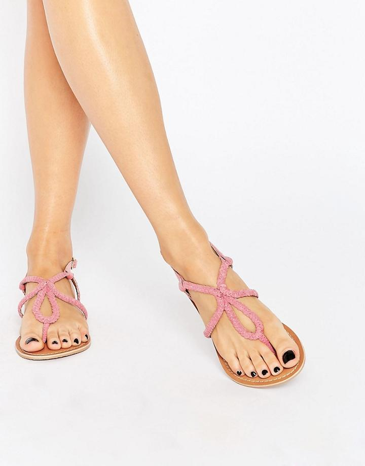 Asos Fallow Leather Plaited Flat Sandals - Pink