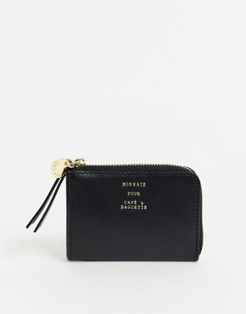 & Other Stories Leather Mini Zip-around Card Holder In Black