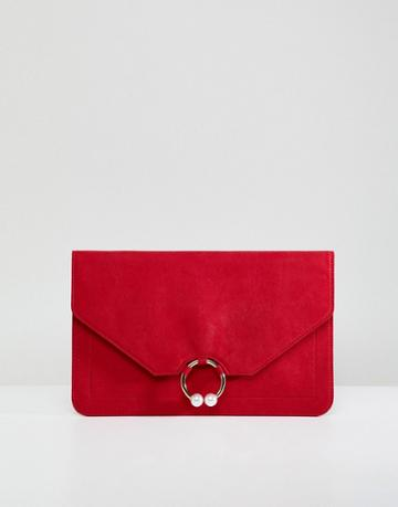 Asos Design Clutch Bag With Ring Pearl Detail - Red