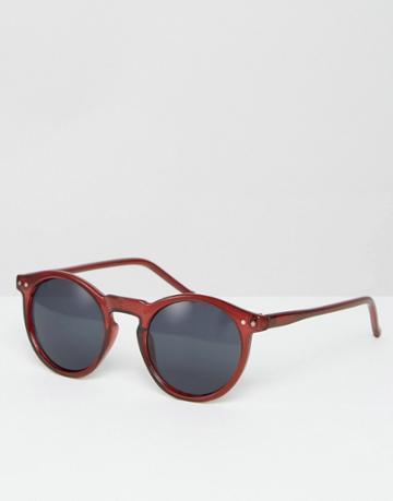 Asos Round Sunglasses In Burgundy - Red