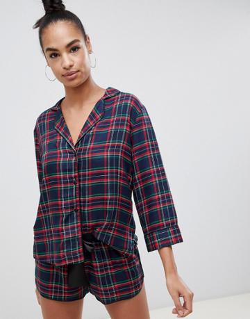 Asos Design Mix & Match Check Shirt - Navy
