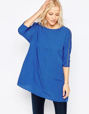Noisy May Lola 3/4 Sleeve Tunic Top - Olympia Blue
