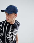 Jack & Jones Navy Faux Suede Baseball Cap - Navy