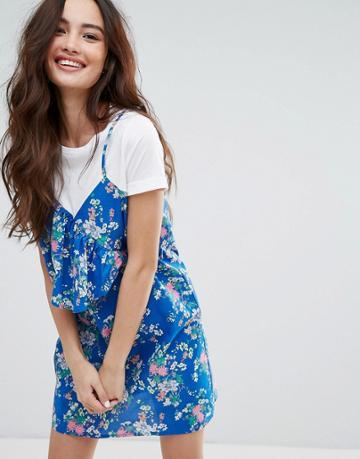 Pull & Bear Tropical Print T-shirt Cami Dress - Blue