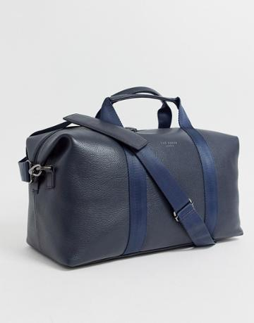 Ted Baker Holding Leather Carryall In Navy