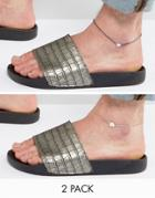 Designb Chain & Cord Anklet In Navy Exclusive To Asos - Navy