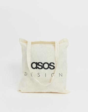 Asos Design Tote Bag In Beige With Text Print - Beige
