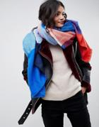 Asos Design Oversized Square Scarf In Blown Up Check In Blue And Red - Blue