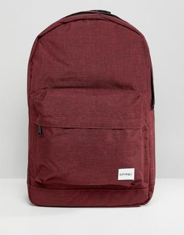 Spiral Backpack In Burgundy Crosshatch - Red