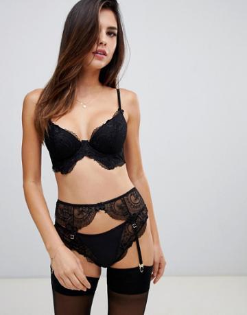 Asos Design Kate Lace Suspender Belt - Black