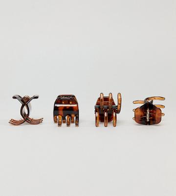 Asos Design Pack Of 4 Large Hair Claws - Brown