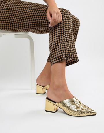 Asos Design Spring Break Woven Kitten Heel Mules - Gold