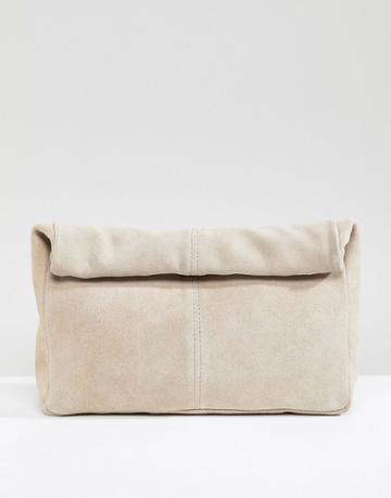 Asos Design Suede Soft Roll Top Clutch - Pink
