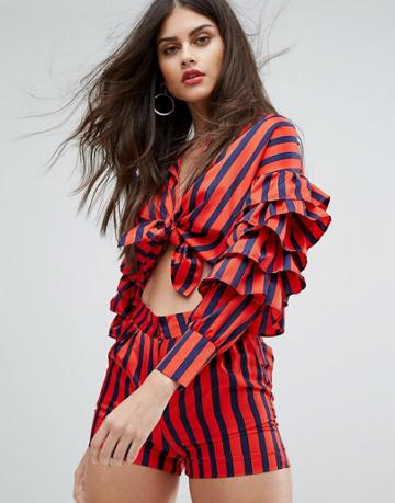 Non-blonde Ruffle Sleeve Top Co-ord - Red