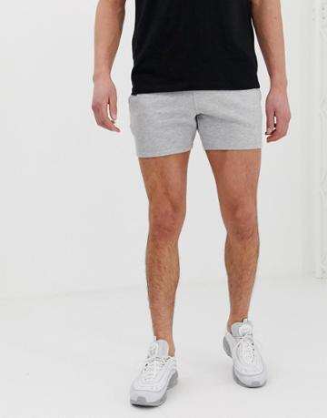 Asos Design Jersey Skinny Shorts In Shorter Length In Gray Marl - Gray