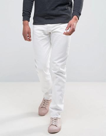 Weekday Sharp Skinny Jeans Rigid Denim Cut Off White - White