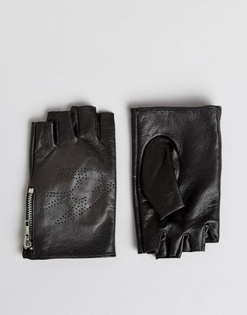 Asos Fingerless Leather Gloves In Black With Swallow Design - Black