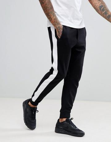 Bershka Side Stripe Joggers With Zip Pockets In Black - Black