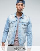 Asos Tall Denim Jacket In Mid Wash With Rips - Blue