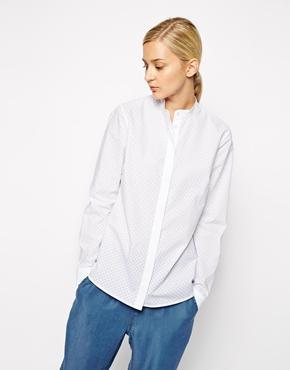 Asos White Punched Poplin Shirt With Grandad Collar - White