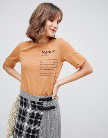 Stradivarius Str Nature Definition Tee In Rust - Red