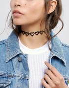 Asos Open Hearts Choker Necklace - Black