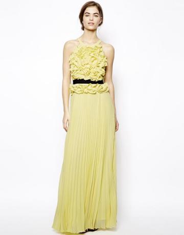Bcbgmaxazria Calida Maxi Dress With Ruffle Bodice Detail And Contrast Belt