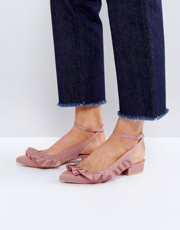 Asos Long Island Ruffle Ballet Flats - Pink