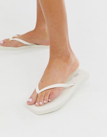 Asos Design Fan Square Toe Flip Flops In White