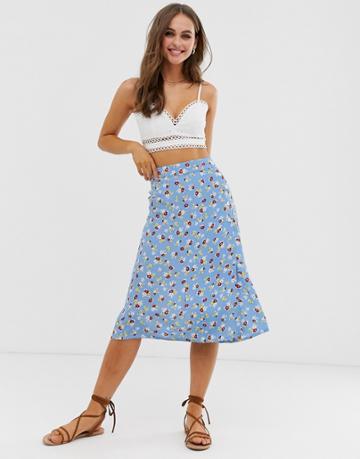 Faithfull Racquel Midi Skirt - Blue