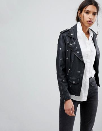Selected Femme Studded Leather Biker Jacket - Black