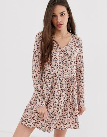 Daisy Street Long Sleeve Smock Dress With Button Front In Ditsy Floral - Multi