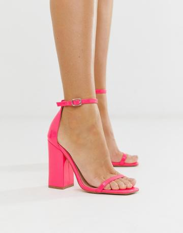 Simmi London Joice Fuschia Patent Square Toe Heeled Sandals - Pink