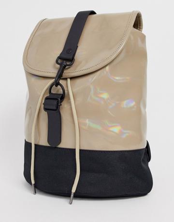 Rains Holographic Drawstring Backpack - Beige
