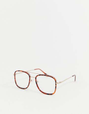 Asos Design Tort Navigator Glasses In Brown With Clear Lens And Gold Metal Detail - Brown