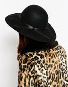 Asos Felt Floppy Hat With Stitched Edge - Black