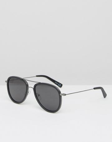 Asos Aviator Sunglasses In Black With Gunmetal Insert - Black