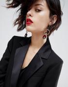 Asos Oval Jewel Drop Earrings - Gold