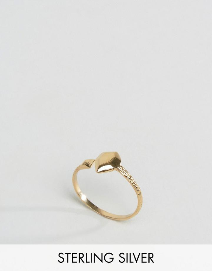 Asos Gold Plated Sterling Silver Open Shape Ring - Gold