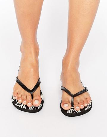 Billabong Black Patterned Flip Flops - Multi