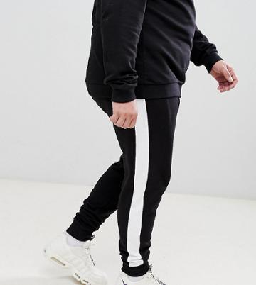 Asos Design Plus Skinny Joggers With Side Stripe - Black