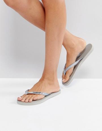 Gandys Slim Line Flip Flops - Silver