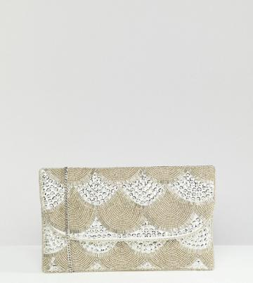 True Decadence Silver Embellished Fold Over Clutch - Silver