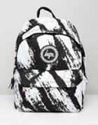Hype Backpack In Black With Brush Print - Black