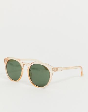 Asos Design Round Sunglasses With Plastic Crystal Orange Frame And Smoke Lenses - Orange