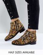Asos Asher Leather Studded Ankle Boots - Multi